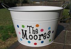 Personalized Beverage Tub - Party Bucket - Use kids fingerprints