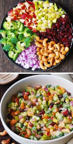 BROCCOLI CASHEW SALAD WITH APPLES, PEARS, AND CRANBERRIES Broccoli Salad With Cranberries, Broccoli Salad Bacon, Broccoli Cauliflower, Brocolli Salad, Spinach Salads, Spinach Recipes, Dried Cranberries, Pasta Salad Recipes, Healthy Salad Recipes