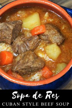 Cuban-style beef soup or Sopa de Res in Spanish, is a really easy and affordable way to get a home-cooked, nutritious and delicious meal. For this soup, an inexpensive cut of beef is cut into small chunks. The beef is cooked in a rich and … Beef Soup Recipes, Mexican Food Recipes, Dinner Recipes, Cooking Recipes, Ethnic Recipes, Beef Soups, Cooking Bacon, Cooking Tips, Beef Soup Bones