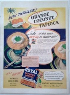 Wall Decor Ideas – Wall decor Tips & Tricls Vintage Recipes, Vintage Food, Tapioca Pudding, Magazine Ads, Print Ads, Vintage Advertisements, Food And Drink, Advertising, Coconut