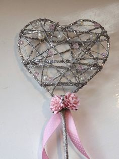 Flower girl wand sparkle heart any colour by HaveToHold on Etsy