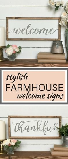 Farmhouse style welcome sgns.  Perfect for shiplap walls.  Shabby chic, rustic, french country style.  Cottage decor.  #aff