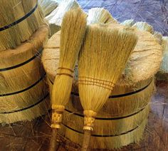 The Kitchen Broom & Witch's Besom Set in Natural Broomcorn - For the Kitchen Witch - Hedge Witch Broom Corn, Witch Broom, Pentacle, Cinnamon Broom, Crystal Altar, Hedge Witch, Organic Cleaning Products, Kitchen Witch, Shaker Style