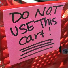 Do-Not-Use Shopping Cart Post-It Note Flu Remedies, Cart, Stuff To Do, Notes, Shopping, Strollers