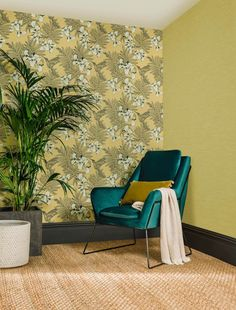 Yellow in décor is happy and chic! Yellow wallpaper dresses your home in sunny hues of optimism, providing an unexpectedly stylish compliment to white, neutrals, wood, and other colors. Home Design, Under The Tuscan Sun, What's Your Style, Wall Colors, Hummingbird, Interior Styling, Accent Chairs, Aurora, Wall Decor