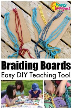 Homemade Braiding Boards - a activity to teach kids how to braid or how to practice their braiding skills. Great activity to strengthen fine motor and hand-eye co-ordination skills! Summer Activities For Kids, Easy Crafts For Kids, Projects For Kids, Diy Projects, Kids Diy, Kid Crafts, Toddler Preschool, Toddler Activities, Camping Activities