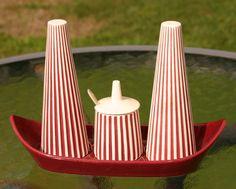 Vintage Hornsea Pottery Red & White Summit Design Cruet Set by GillardAndMay on Etsy