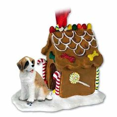 NEW Saint Bernard Ginger Bread House Christmas Ornament *** You can find more details by visiting the image link.