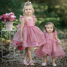 dd1e76d374 Simple Cute Tulle Dusty Pink Sleeveless Popular Little Girl Dresses, TYP0990