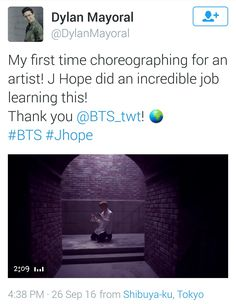 Dylan Mayoral the choreographer of Hoseoks sick af dance tweeted about Hobi and the trailer ❤ #BTS #방탄소년단