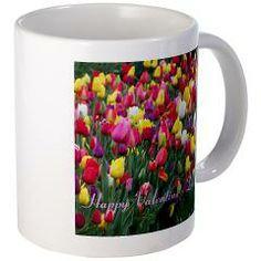 Happy Valentine's Day Multicolored Tulips Mug