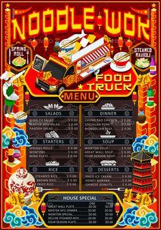 Food Truck Menu Street Food Chinese Wok Festival Vector Poster