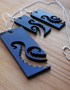 Octopus Tentacles Laser Cut Earrings - Black Silhouette Statement Jewelry - by NocturneDesignsCut 17.02 USD