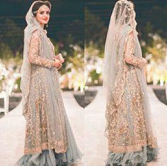 Pakistani bridal dress | walima | grey lehenga with golden embroidery | net dupatta