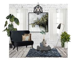 """""""Small Living Room Idea"""" by katarinaf ❤ liked on Polyvore featuring interior, interiors, interior design, home, home decor, interior decorating, Curtainworks, Tom Dixon, Waverly and Nearly Natural"""