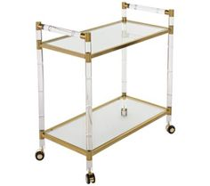bronze brass finish lends a modern yet retro touch to this 1970s inspired clear acrylic - Rolling Bed Frame