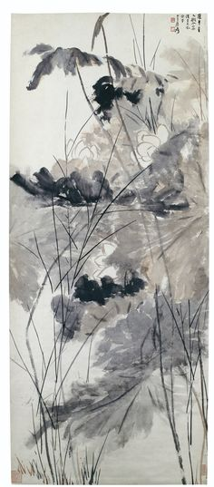 ZHANG DAQIAN (1899-1983), LOTUS, INK AND COLOURS ON PAPER, SIGNED AND DATED 1930, MOUNTED AS A SCROLL