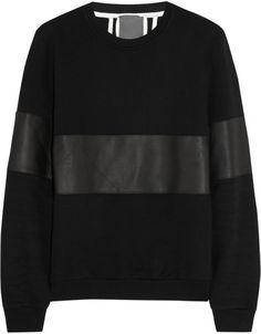 LOT78 Black Leatherpaneled Cottonjersey Sweatshirt