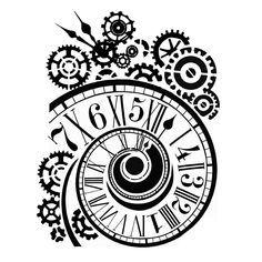 Stamperia – Stencil D X – Clock & Mechanisms – Tattoo Pattern Dibujos Tattoo, Desenho Tattoo, Stencil Patterns, Stencil Designs, Clock Drawings, Gear Tattoo, Clock Tattoo Design, Clock Tattoos, Watch Tattoos