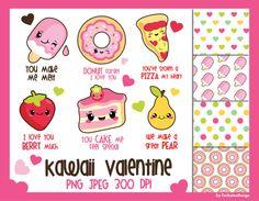 50% OFF SALE, Valentine clipart, kawaii clipart, kawaii valentine clipart, cake clipart, donut clipart, valentine digital paper, commercial