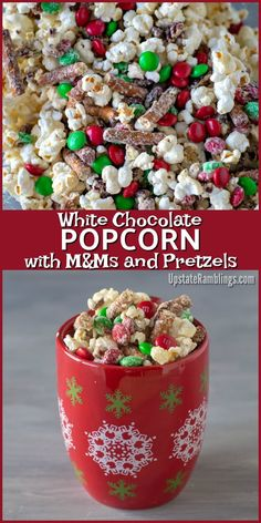 christmas treats This easy white chocolate popcorn recipe is simple yet delicious! Popcorn, pretzels, pecans and Mamp;Ms drizzled with white chocolate - yum! Easy to make and is perfect for family movie night or giving to friends and neighbors as a gift. Christmas Snack Mix, Christmas Popcorn, Christmas Deserts, Holiday Snacks, Christmas Cooking, Christmas Recipes, Christmas Time, Christmas Puppy Chow, Kids Christmas Treats