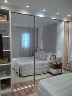 Mirror Closet Door Makeover Before After Bedroom Makeovers 23 Ideas Room Ideas Bedroom, Small Room Bedroom, Home Decor Bedroom, Trendy Bedroom, Bed Room, Mirror Closet Doors, Closet Door Makeover, Wardrobe Design Bedroom, Home Room Design