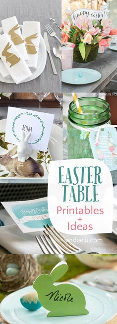 Easter Table Printables and Ideas. Quick and easy ways to dress up your Easter dinner or brunch table! Easter Lunch, Hoppy Easter, Easter Dinner, Easter Party, Easter Eggs, Easter 2018, Easter Food, Brunch Table Setting, Brunch Decor