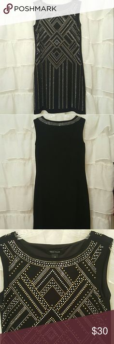 Black studded party dress Beautiful, figure flattering black studded party dress. Lined. Like new. Soooo elegant! White House Black Market Dresses Mini