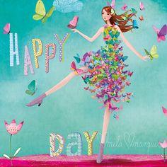 Risultati immagini per mila marquis Happy Birthday Images, Happy Birthday Wishes, Birthday Greetings, Birthday Cards, Marquis, Art Carte, Good Day Sunshine, Whimsical Art, Happy Day