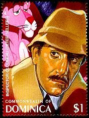 Detective Fiction on Stamps: Dominica, 100 Years of Cinema. Inspector Cluseau
