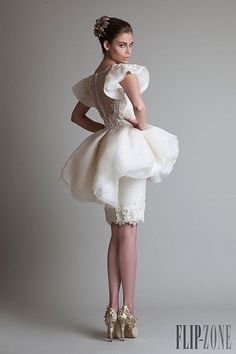 Krikor Jabotian «Closure», O-I 2013-2014 - Alta Costura... This lady loves her body, fully dressed to play in suspenders and stockings... http://www.royaldressedladies.com