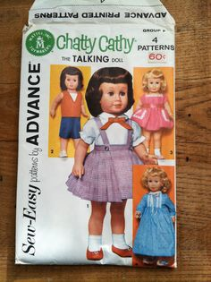 Chatty Cathy Wardrobe - Advance Pattern - Mattel - 1962 - 4 patterns/outfits: skirt, blouse, sports set, dress, nightgown - the talking doll by ChillyPumpkin on Etsy