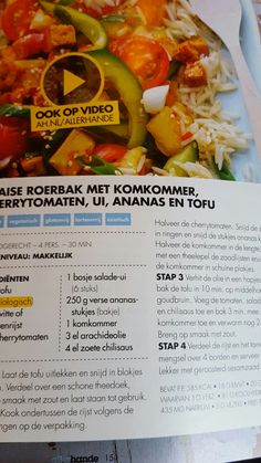 Thaise roerbak met komkommer, cherrytomaten, ui, ananas en kip/tofu