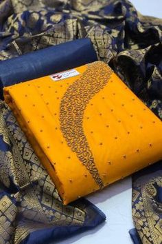 Yellow Cotton Embroidered Unstitched Straight Suit Latest Salwar Suits, Suits For Women, Clothes For Women, Indian Salwar Suit, Salwar Kameez Online, Suit Shop, Types Of Sleeves, Pattern Design, Yellow