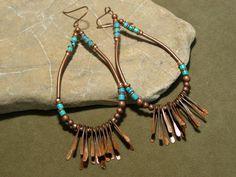 Etsy Transaction - Turquoise Earrings - Hoop Earrings - Native Earrings - Copper Earrings - Southwest Jewelry - Tribal Fashion