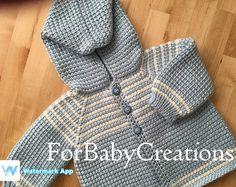 Crochet bebé niño suéter con capucha - azul blanco - por encargo - ganchillo tunecino - hecho a mano