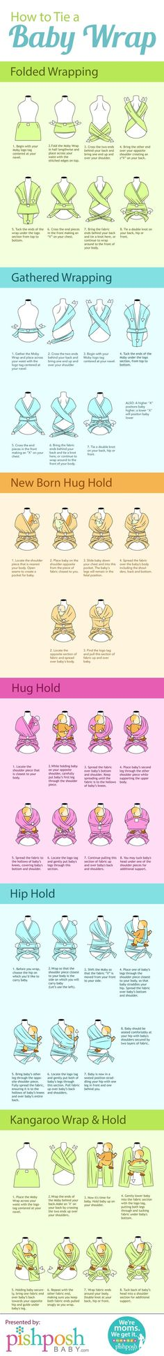 How to Tie a Baby Wrap [by PishPosh Baby -- via Tipsographic] #tipsographic                                                                                                                                                                                 More
