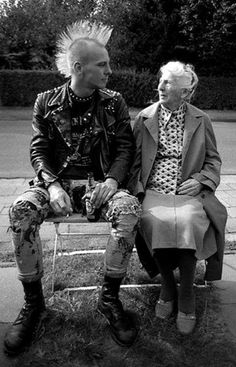Grandmother & punk rocker hanging out funny