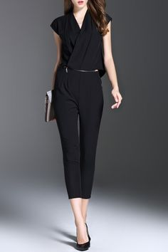 Y&m Black Solid Color V Neck Convertible Jumpsuit | Jumpsuits & Rompers at DEZZAL
