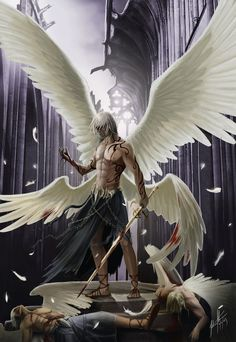 The fallen angel, beyond redemption, having betrayed his kin in their slaughter. Evil overtakes him, his wings through time to become the colour of nigh. The Fallen Fantasy Male, Fantasy Warrior, Dark Fantasy Art, Fantasy World, Dark Art, Male Fallen Angel, Male Angels, Angels And Demons, Evil Demons