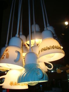 """Can you imagine hanging a few of these magical """"Cup"""" lamps in the kitchen, a reading nook, over your coffee-station etc.   Some vintage cups are just stunning!"""