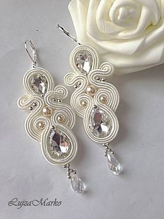 Tatting Jewelry, Bead Embroidery Jewelry, Beaded Jewelry, Soutache Pendant, Soutache Necklace, Bride Earrings, Lace Earrings, Handmade Wire Jewelry, Earrings Handmade