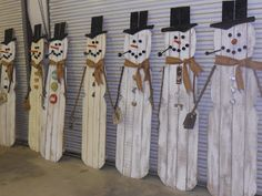 Whimsical Cottage: Building Scrappy and His Friends. Junk inspired snowmen.