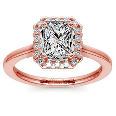 Pave Halo Diamond Engagement Ring in Rose Gold | Radiant