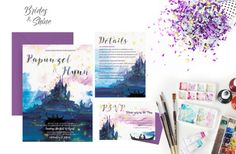 Printable Wedding Invitation Suite / Wedding Invite Set- TANGLED LAKE  This listing is for a print ready, high resolution, digital file for you to print at home or via professional print shop. This design is originally painted by myself and is not a COOKIE-CUTTING design you can get from the outside. I truly hope you can find your perfect wedding invitation design for your wedding!  Please note that NO PHYSICAL PRODUCTS will be sent. This listing also includes 2 rounds of revisions + fil... Disney Wedding Invitations, Watercolor Wedding Invitations, Wedding Invitation Design, Invitation Suite, Invite, Watercolor Artwork, Tangled, Perfect Wedding, Finding Yourself