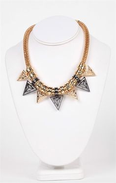 Deb Shops Short Statement Necklace with Cobra Chain and Triangle Accents