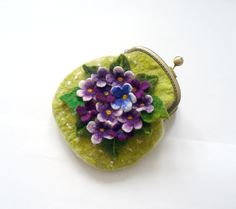 Wet Felted FLOWER Violets coin purse  by MSbluesky on etsy