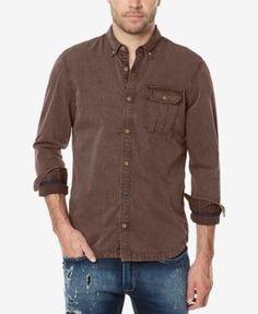 Buffalo David Bitton Men's Sotern Woven Shirt - Gray S Casual Button Down Shirts, Long Sleeve Shirts, Handsome, David, Shirt Dress, Buffalo, Mens Tops, Cotton, Gray