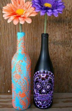 Hand Painted Wine bottle Vase, Up Cycled, Turquoise and Coral Orange, Vibrant Henna style design - Diy Crafts Ideas Projects Wine Bottle Vases, Painted Wine Bottles, Wine Bottle Crafts, Bottle Art, Decorated Bottles, Bottle Painting, Glass Bottles, Painting Vases, Diy Bottle