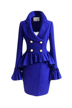 Falbala Hem Blue Bowknot Coat [NCSOX0477] - $216.99 : #JulepColorChallenge #CreateYourJulepColor